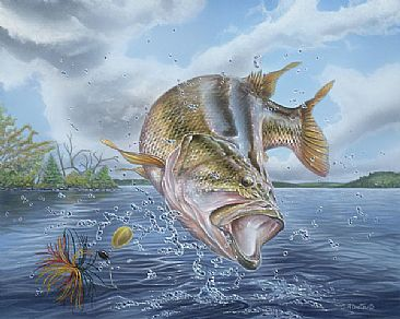 Largemouth bass painting art by curtis atwater for Bass fishing art