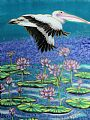 Pelican Over Lilies - pelican flying over water lilies by Kim Toft&nbsp(2)